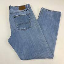 Lucky Brand 363 Vintage Straight Jeans Mens W34xl32 Blue Denim Distressed Casual Photo