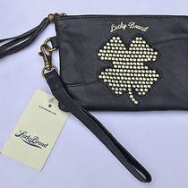 Lucky Brand Abby Leather Wristlet W/studded Four Leaf Clover New Msrp 68 Photo