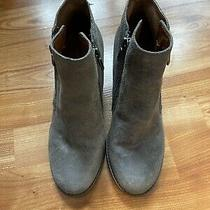 Lucky Brand Ankle Boots Distressed Gray Wedge Booties Size 8.5m Photo