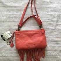 Lucky Brand Bailey Leather Fringe Bag in Hibiscus New Msrp 148 Photo