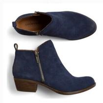 Lucky Brand Basel Blue Suede Ankle Zip Boots Booties Size 9m Us. Photo