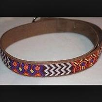 Lucky Brand Beaded Leather Belt Size S Photo