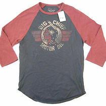 Lucky Brand Big Chief Indian Motor Oil Gray Medium Mid Sleeve Vintage Tshirt Photo