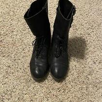 Lucky Brand Black Leather Lace Up Side Zip Combat Boots Size 8.5 M Photo