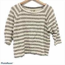 Lucky Brand Blue & Cream 3/4 Sleeve Boxy Sweater S Photo