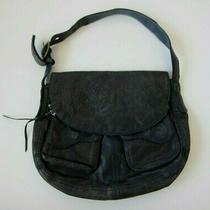 Lucky Brand Blue Etched Italian Distressed Leather Hobo Shoulder Bag Purse  Photo