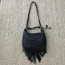 Lucky Brand Blue Leather Fringe Bag Hobo Crossbody Hippie Ricky Boho Blue Purse  Photo