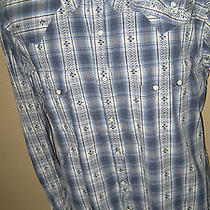 Lucky Brand Blue/wht Plaid Mother of Pearl Snap Cotton L/s Western Shirt Xl/mint Photo