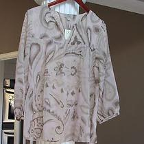 Lucky Brand Blush Taupe Paisley Floral Print Sheer Top Blouse Size S Nwt 89.50 Photo