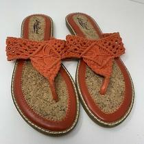 Lucky Brand Boho Orange Crochet Sandal Slide Size 9/39 Photo