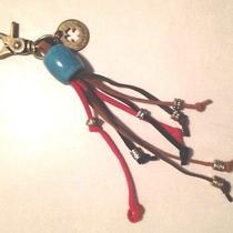 Lucky Brand Brass Clover & Beaded Straps Handbag Tag Fob Charm Key Chain Photo