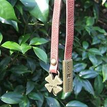 Lucky Brand Brass Clover & Brandy Brown Leather Strap Handbag Tagcharm Fob Photo