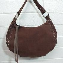 Lucky Brand Brown Canvas Hobo Shoulder Bag Brass Studded Handbag Purse Photo