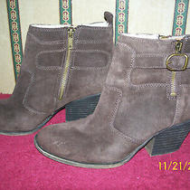 Lucky Brand Brown Suede Side Zip Boots Size 8 1/2 M Photo