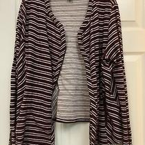 Lucky Brand Dark Red and White Striped Womens Sweater Jacket Size Xl Photo