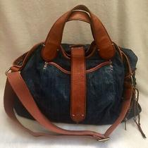 Lucky Brand Denim Jean Bag Xl Leather Trim Blue Tote Satchel Hobo Purse Photo