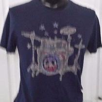 Lucky Brand Drum Set Peace Sign Logo Promo Blue T-Shirt Small Vintage Print Rare Photo
