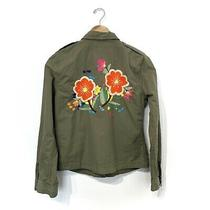 Lucky Brand Embroidered Utility Shirt Jacket Womens M Army Green Military Look Photo
