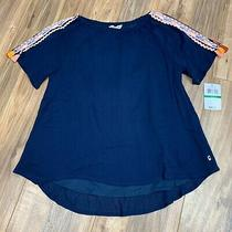 Lucky Brand Girls Size Large L Navy Embroidered Tassel Sleeve Jessamy Top Nwt Photo
