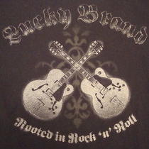 Lucky Brand Guitars Rooted in Rock n' Roll Electric Bass Acoustic T Shirt Xl Photo
