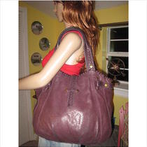 Lucky Brand High Time Italian Lamb Eggplant Leather Tote Hobo Bag  Photo