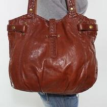 Lucky Brand Hightime Whipstitch Lrg  Brown  Leather Shoulder Hobo Tote Purse Bag Photo