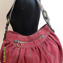 Lucky Brand Hobo Suede Leather Slouch Bag (Red) Pre-Owned Photo