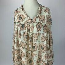 Lucky Brand Ivory Blush Pink Floral Hippie Boho Top Blouse Medium M Nice Photo