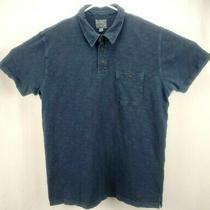 Lucky Brand Jeans Mens Polo Shirt L Short Sleeve 3 Button Up Blue Chest Pocket Photo