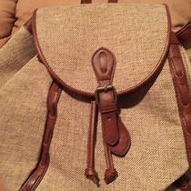 Lucky Brand Kendal Natural Linen Leather Trim Backpack Shoulder Bag Lb2492 Photo