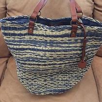 Lucky Brand Kenya Blue Multi  Straw Leather Large Tote Shoulder Purse Nwt Photo