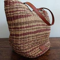 Lucky Brand Kenya Natural Multi Colored Straw Leather Large Tote Shoulder Bag Photo