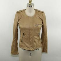 Lucky Brand Ladies Brown Leather Zipped Riding Jacket Size Xs Photo