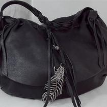 Lucky Brand Large Black Pebbled Leather Tassel Hobo Shoulder Bag Purse Euc Photo