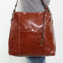 Lucky Brand Large Brown Leather Shoulder Hobo Tote Satchel Purse Bag Photo