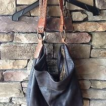 Lucky Brand Leather Braided Strap Hobo Bag Purse Dark Brown Photo