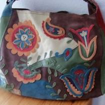Lucky Brand Leather Purse Bag- Suede Browns Blues Reds Greens Photo