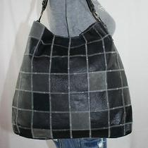 Lucky Brand Lrg Black Grey Patchwork Leather Shoulder Hobo Tote Slouch Purse Bag Photo