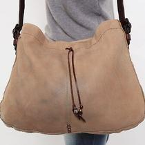 Lucky Brand Lrg Tan Suede Brown Leather Shoulder Hobo Tote Cross Body Purse Bag Photo