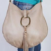 Lucky Brand Medium Beige Leather Shoulder Crossbody Hobo Tote Satchel Purse Bag Photo