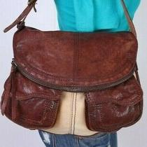 Lucky Brand Medium Brown Tan Leather Canvas Shoulder Hobo Tote Satchel Purse Bag Photo