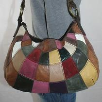 Lucky Brand Medium Patchwork Leather Shoulder Hobo Tote Satchel Slouch Purse Bag Photo