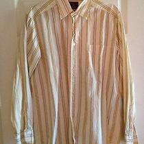 Lucky Brand Men's Button Down Medium in Muted Yellow With Stripes Photo