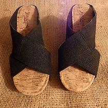 Lucky Brand Miller 2 Cork Wedge Black Cloth Strap Wedge Sandals Shoes Size 8.5 Photo