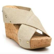 Lucky Brand Miller Tan Woven Cork Wedge Sandals 9 Photo