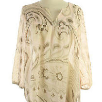 Lucky Brand New Blush Multi Bell-Sleeve Paisley  Blouse L 89.5 Photo