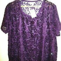 Lucky Brand Nwt Purple and Black Dressy Tee Womens Xl Photo
