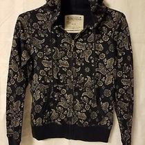 Lucky Brand Paisley Navy Blue Zip Up Hoodie Jacket Womens Sz Small Photo