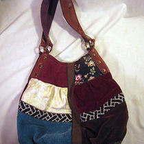 Lucky Brand Patchwork Hobo W. Italian Leather Handles  Rare   Photo
