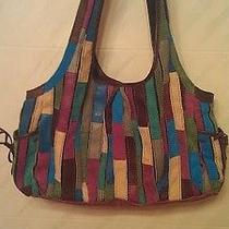 Lucky Brand Patchwork Purse Hobo Slouch Bag Turquoise Purple Browns  Photo
